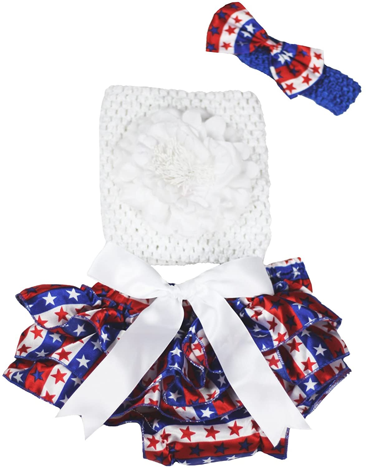 Petitebella White Flower Tube Top Striped Stars Baby Bloomer Outfit 3-12m