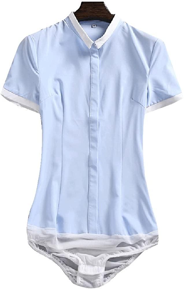 ZAMME Women's Bodysuit Short Sleeve Top Blouse Shirt
