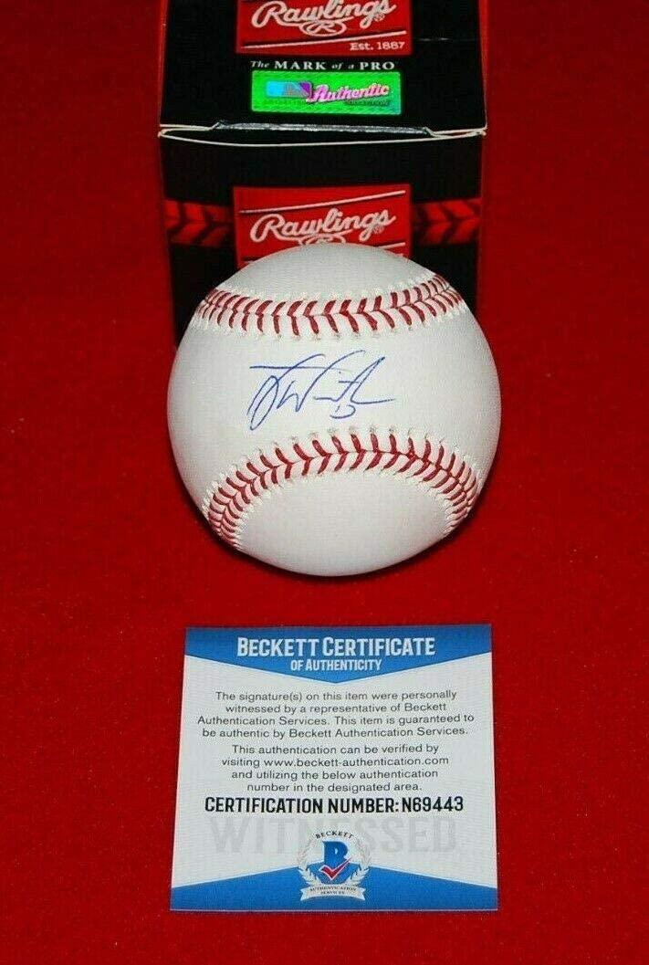 Tyler White Signed Baseball - Los Angeles Dodgers beckett witnessed COA 2 - Beckett Authentication - Autographed Baseballs