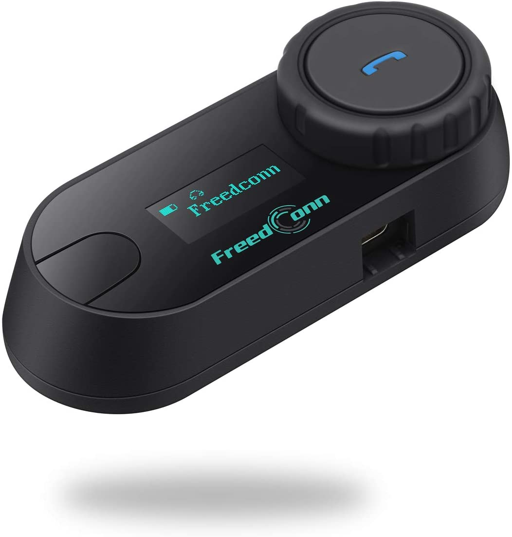 FreedConn TCOM-SC Hard Mic Bluetooth Helmet Communication Intercom Systems for Motorcycle, LCD Screen 800M Two-Way Handsfree Bluetooth Interphone Intercom Headset with FM Radio Waterproof (1 Pack)