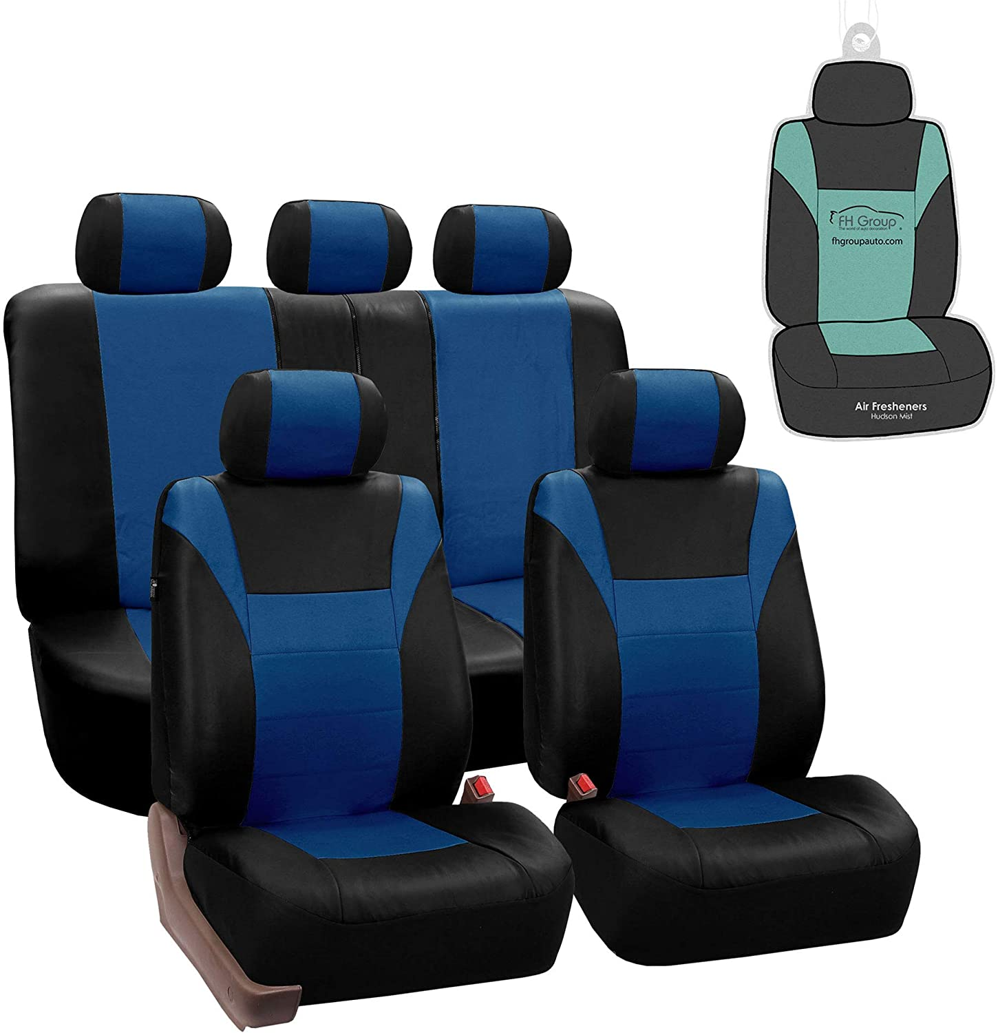 FH Group PU003115 Racing PU Leather Seat Covers (Blue) Full Set with Gift - Universal Fit for Trucks, SUVs, and Vans