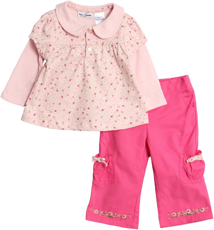 BT Kids Baby Girls 2pc Rose Floral Print Pants Set