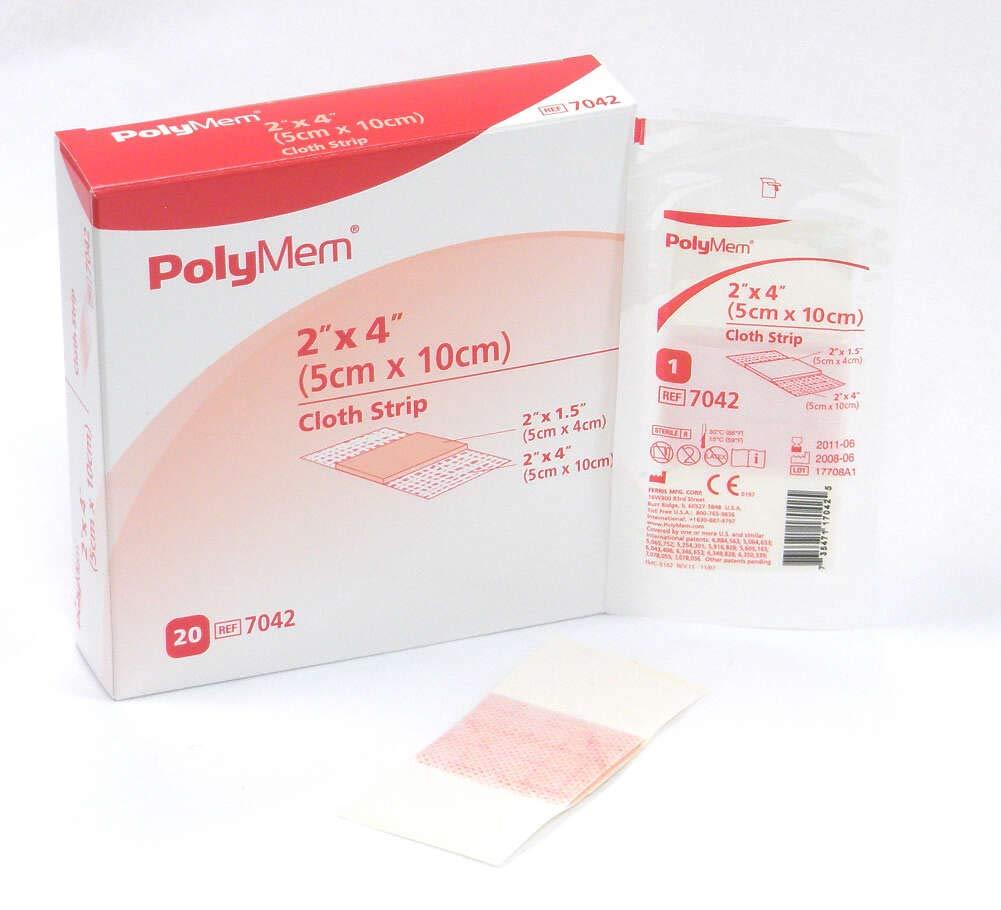 PolyMem Cloth Strip Wound Dressing, Sterile, Foam, 2' X 4' Adhesive, 2' X 1.5' Pad, 7042 (Box of 20)