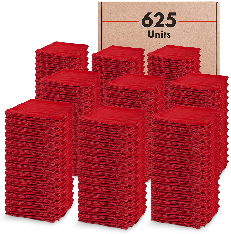 Wholesale Bulk Red Shop Towels (625 Units) - 14 x 14 100% Cotton - Route Ready Industrial Quality Commercial Auto Mechanic Car Wash - Clean, Absorbent, Reusable