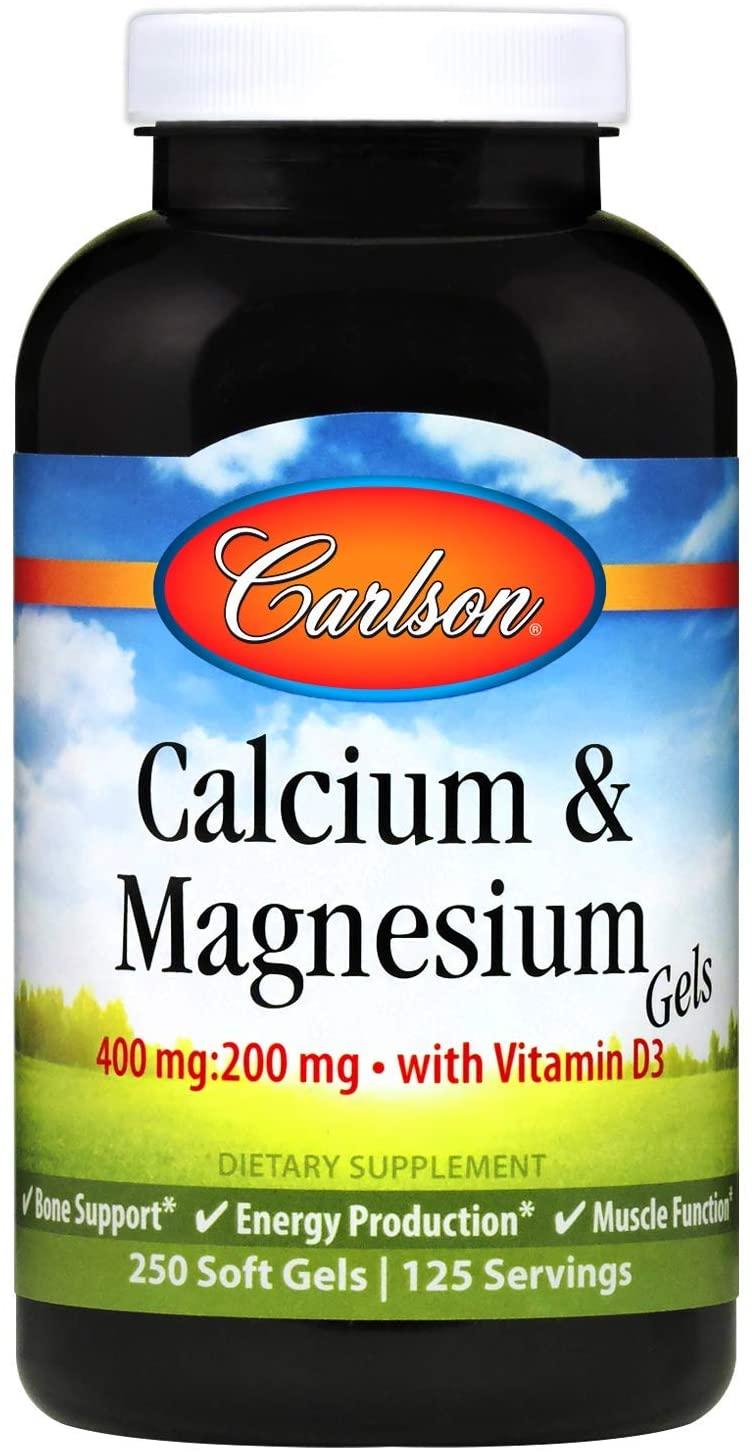Carlson - Cal-Mag Gels, 2:1 Calcium to Magnesium Ratio, Calcium Magnesium Supplement & Vitamin D, 200 mg Calcium Supplement, 100 mg Magnesium Supplement, Bone Support, Energy Production, 250 Softgels