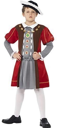 Boys Horrible Histories King Henry VIII Tudor Monarch Historical Regal Royal Book Day Fancy Dress Costume Outfit (7-9 Years) Red-Grey