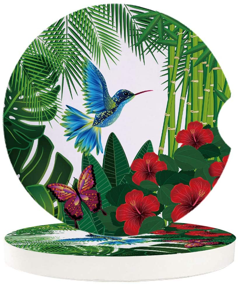 Nature Landscape 4 Pcs Car Coasters Absorbent Ceramic for Drink - Tropical Floral Design Background with Bird Butterflies, Best Interior Decorative Cupholder for Car Accessory
