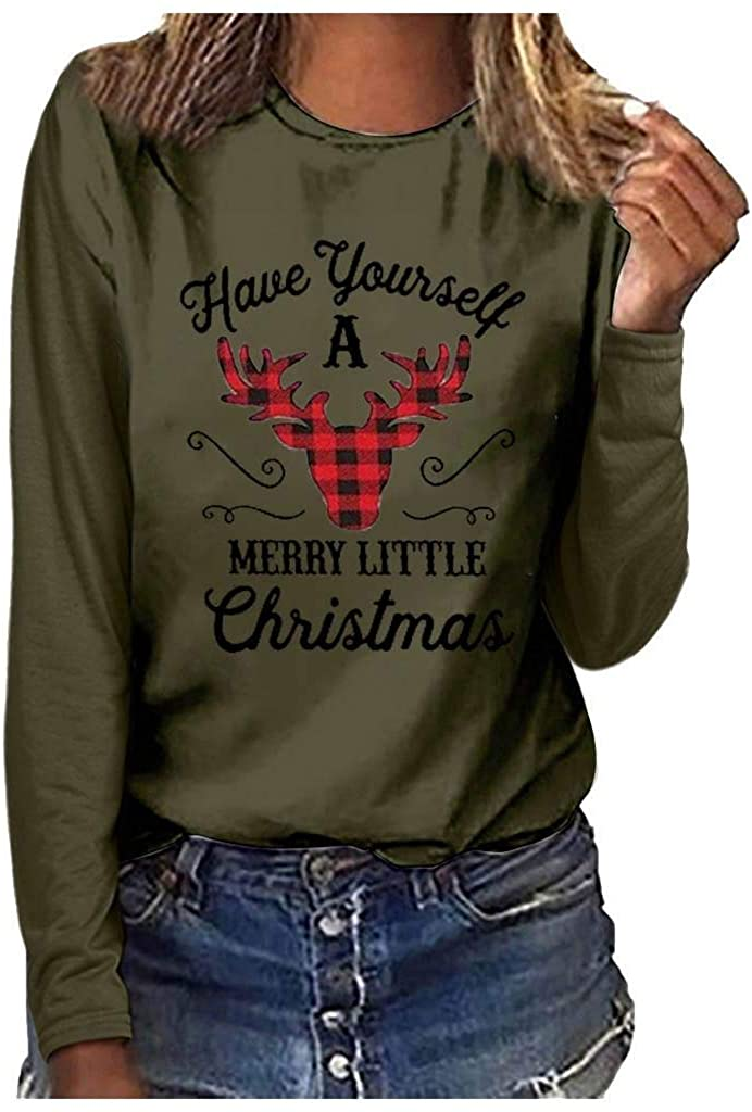 terbklf Ugly Christmas Shirts for Women Letter Print Long Sleeve Basic T Shirt Christmas Graphic Pullover Tops Oversize