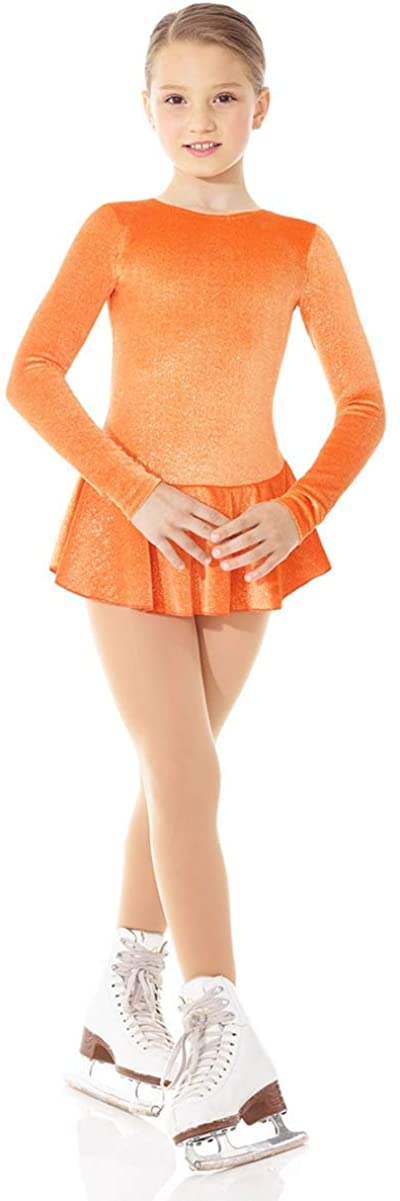 Mondor Girls Ladies Figure Skating Dress - Glitter Velvet Long Sleeve Ice Skating Dress 2711