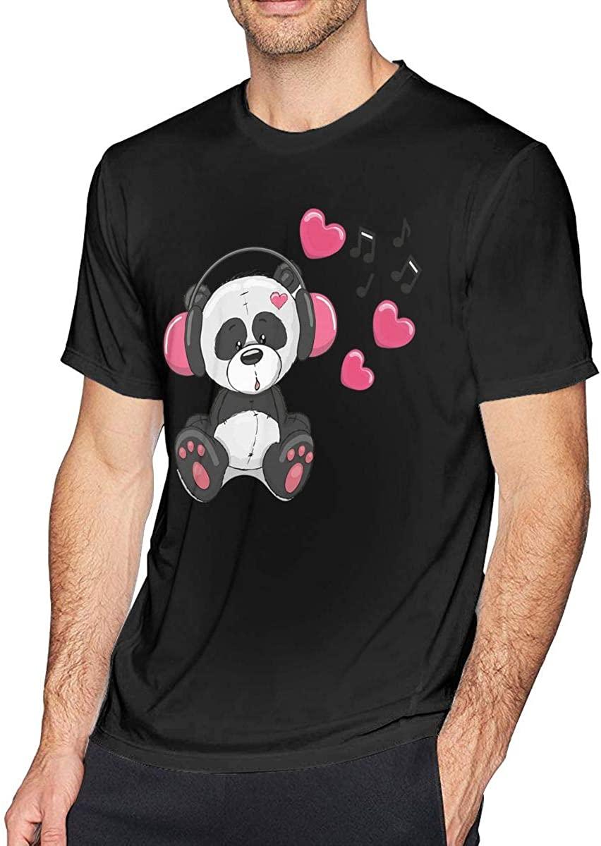 Redcong Men's Crew Neck T-Shirts, Panda Graphic Short Sleeve Tees, Cotton Tops Casual Shirts