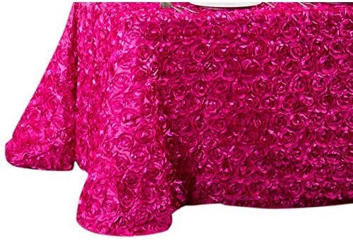 LinenTablecloth Rosette Satin Rectangular Tablecloth, 88 by 130-Inch, Fuchsia