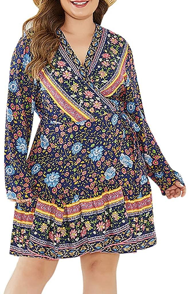 ✦ HebeTop ✦ Women's Plus Size Long Sleeve Boho Bohemian Tribal Print Beach Dress