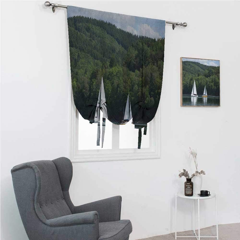 GugeABC Patio Door Curtains Sailboat Balloon Shades for Window Sailboats on a Lake Forest Hill Yachting Countryside Coastline Nature Scenics 35