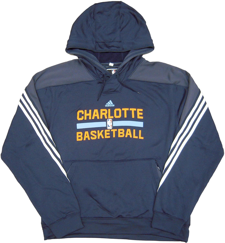 NBA Charlotte Bobcats Team Issued adidas Hooded Sweatshirt Hoodie Navy - Size Medium
