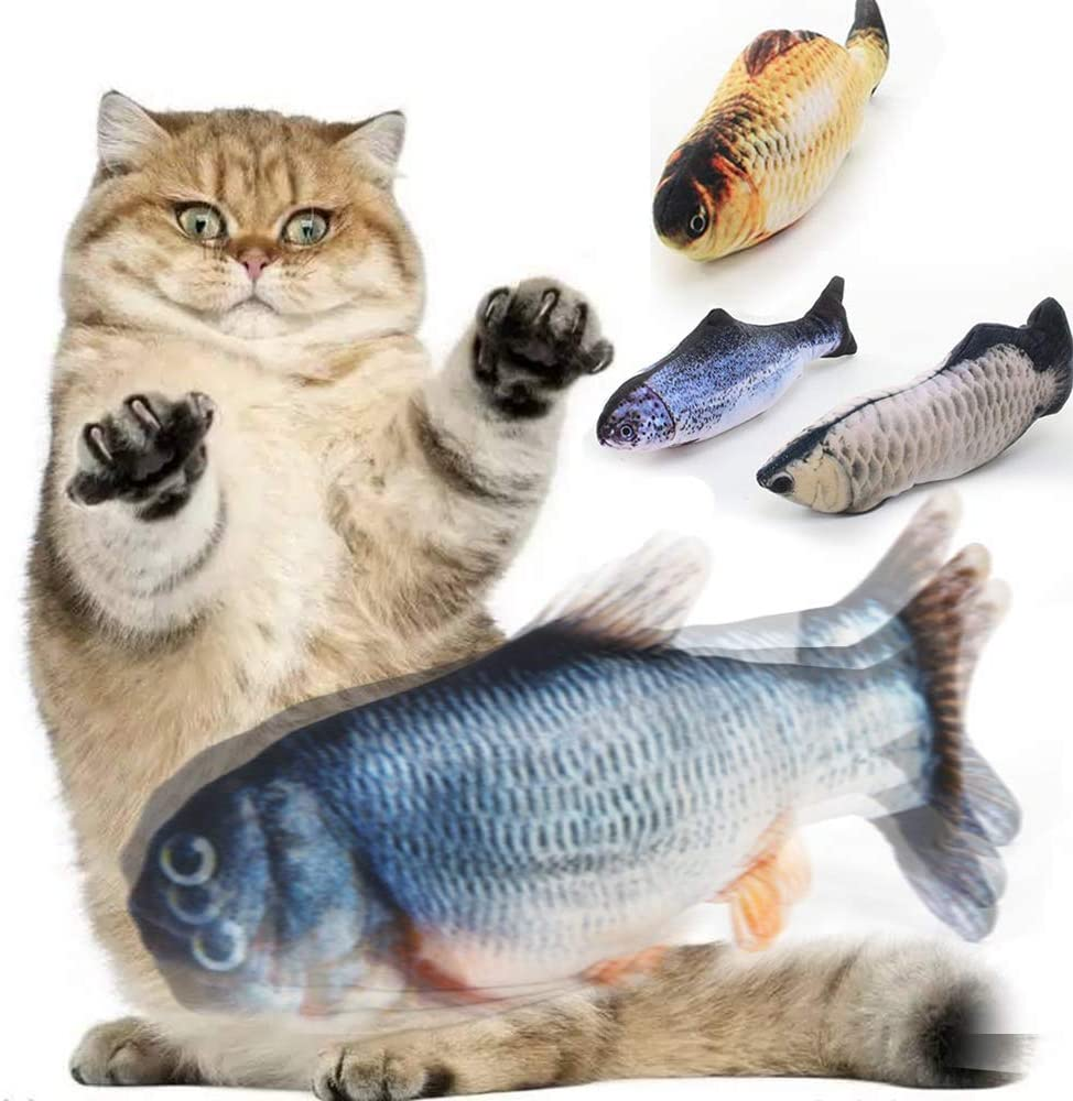 ZHMCJL Moving Cat Kicker Fish Toy,Realistic Flopping Fish,Wiggle Fish Catnip Toys,Motion Kitten Toy,Cat Exercise,Funny Interactive Pets Pillow Chew Bite Kick Supplies for Cat Kitten Kitty (Catfish)