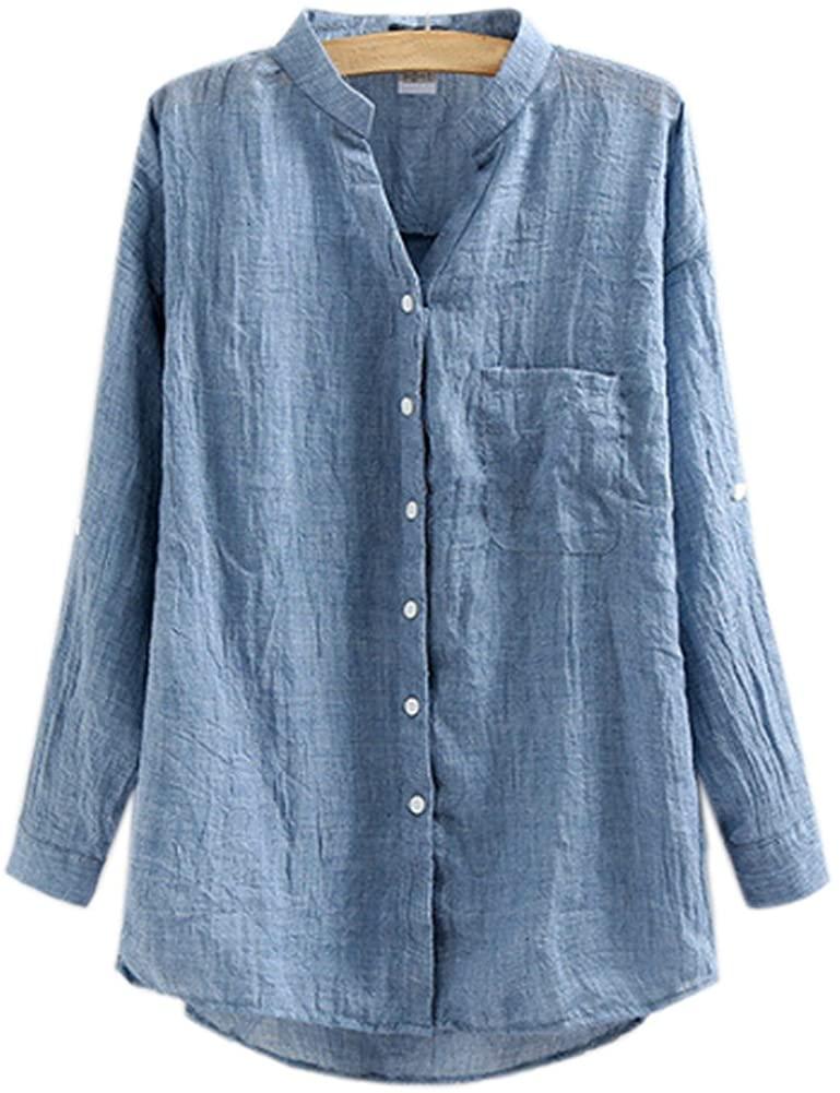ZAMME Women's 3/4 Sleeve Flax Loose Office Lady Shirt