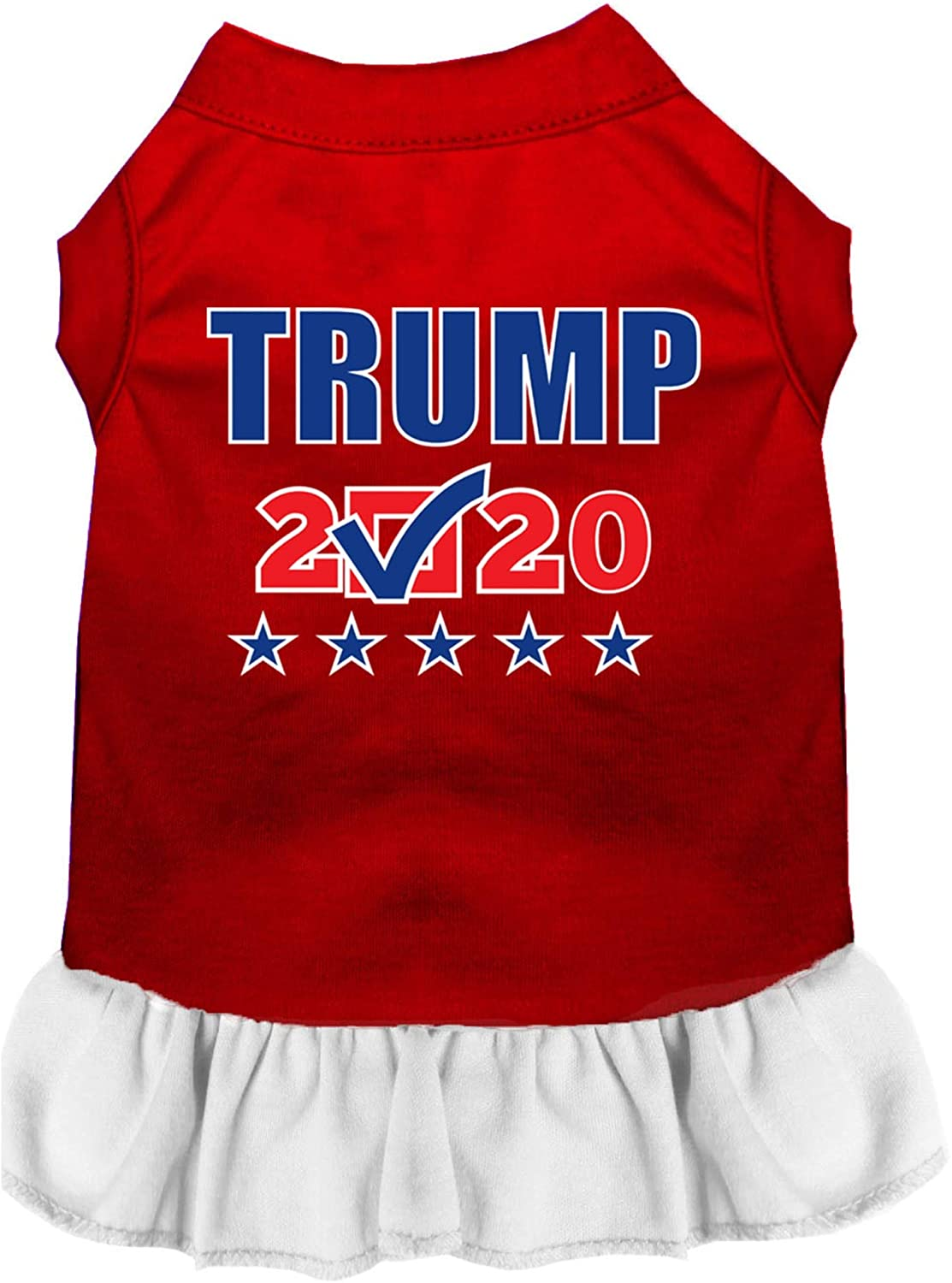 Mirage Pet Product Trump 2020 Checkbox Screen Print Dog Dress Red with White XXL
