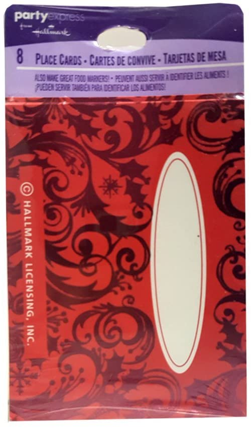 Hallmark Place Cards (8 Count) - Red Holiday Metallic
