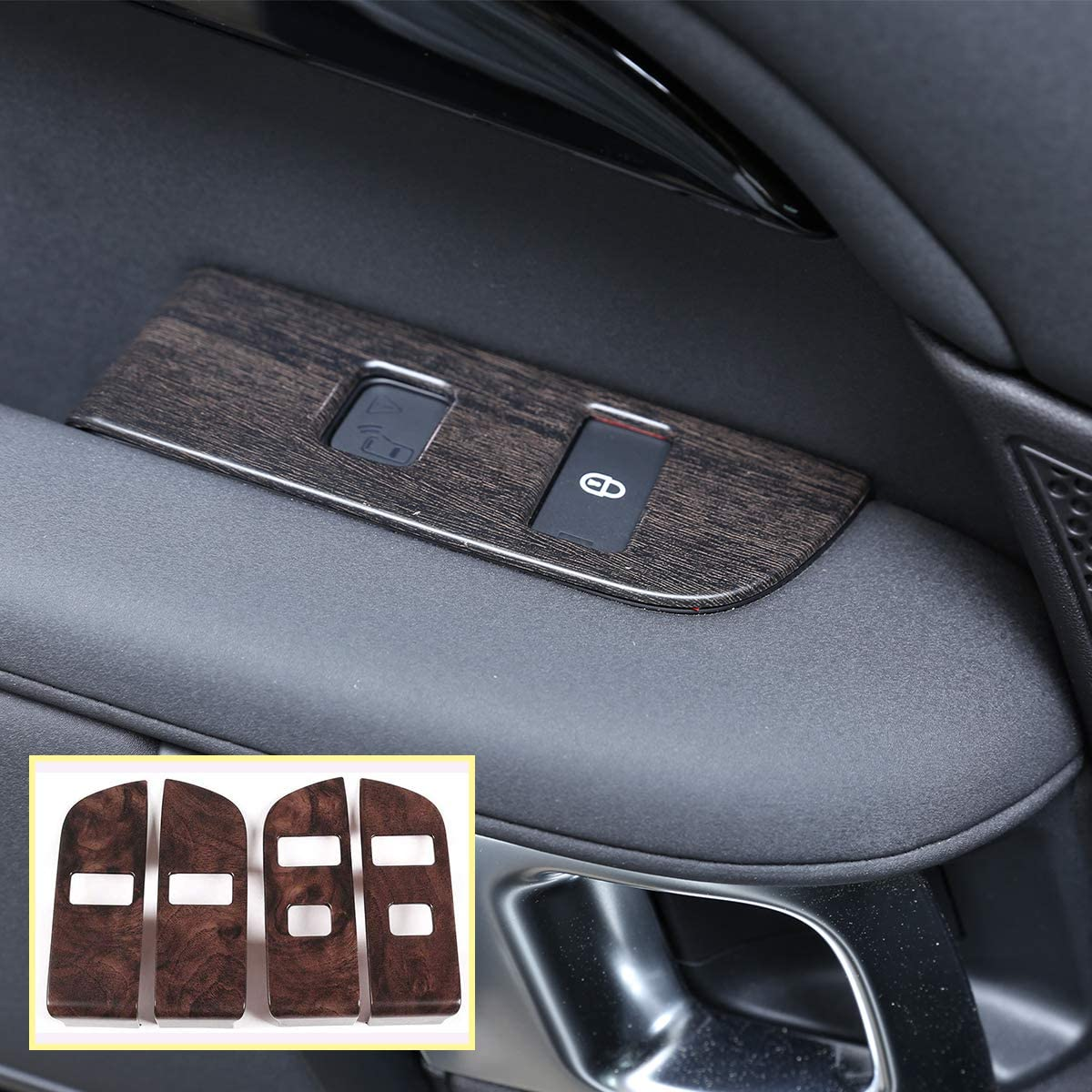 Oak Wood Grain ABS For Land Rover Discovery 5 LR5 L462 2019 (LHD) Accessories Interior Child Lock Button Trim With Opening Warning 4pcs (Low configuration)