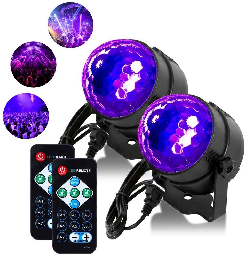 [2 Pack] Litake UV Black Lights 6W LED Disco Ball Party Lights Strobe Light Disco Lights, Sound Activated with Remote Control Dj Lights Stage Light for Festival Bar Club Party Wedding Show Home