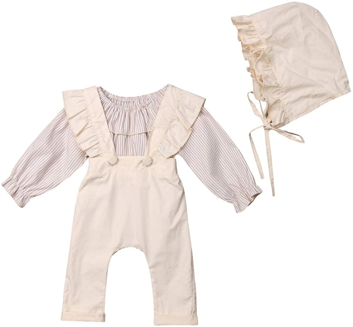 Baby Infant Girl Stripe Lotus Shirt+Ruffle Jumpsuit Suspender Pant+Bucket Hat Clothes Set