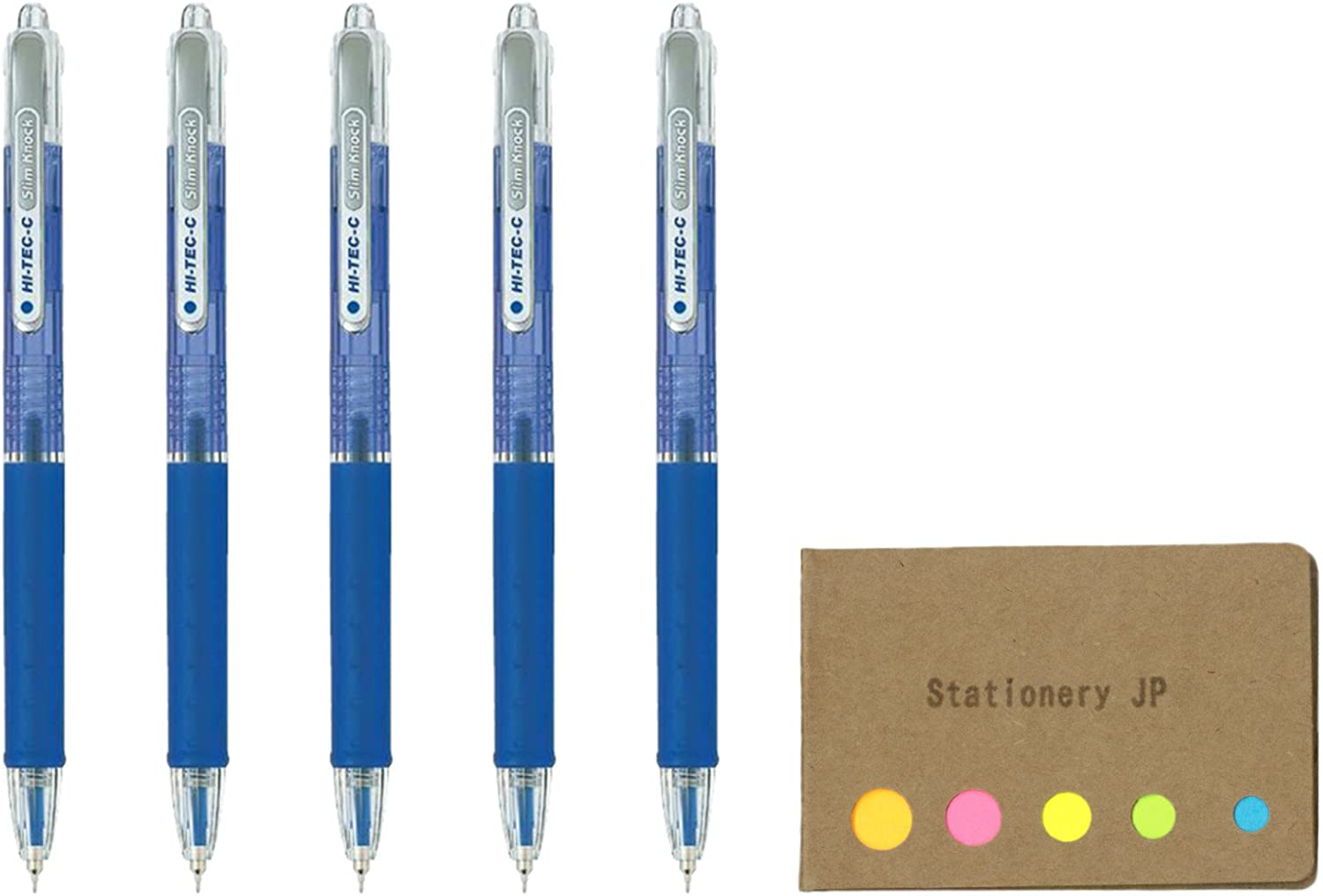 Pilot Hi-Tec-C SlimKnock 04 Retractable Gel Ink Pen, Ultra Fine Point 0.4mm, Blue Ink, 5-Pack, Sticky Notes Value Set