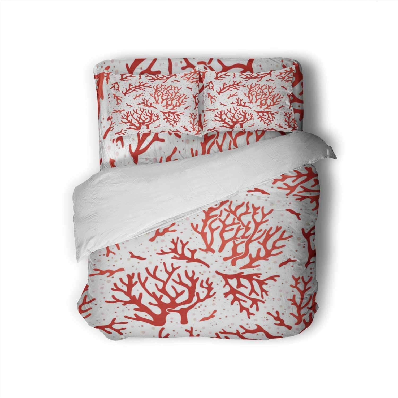 1812.M40.I110.N005.F.C06.394953736 Coral Pattern.Ocean Sea Reef Corals,Bed Set Aquarium Marine Life Design Seamless Wallpaper_Itog Cnidarian Size Sheets Twin Size