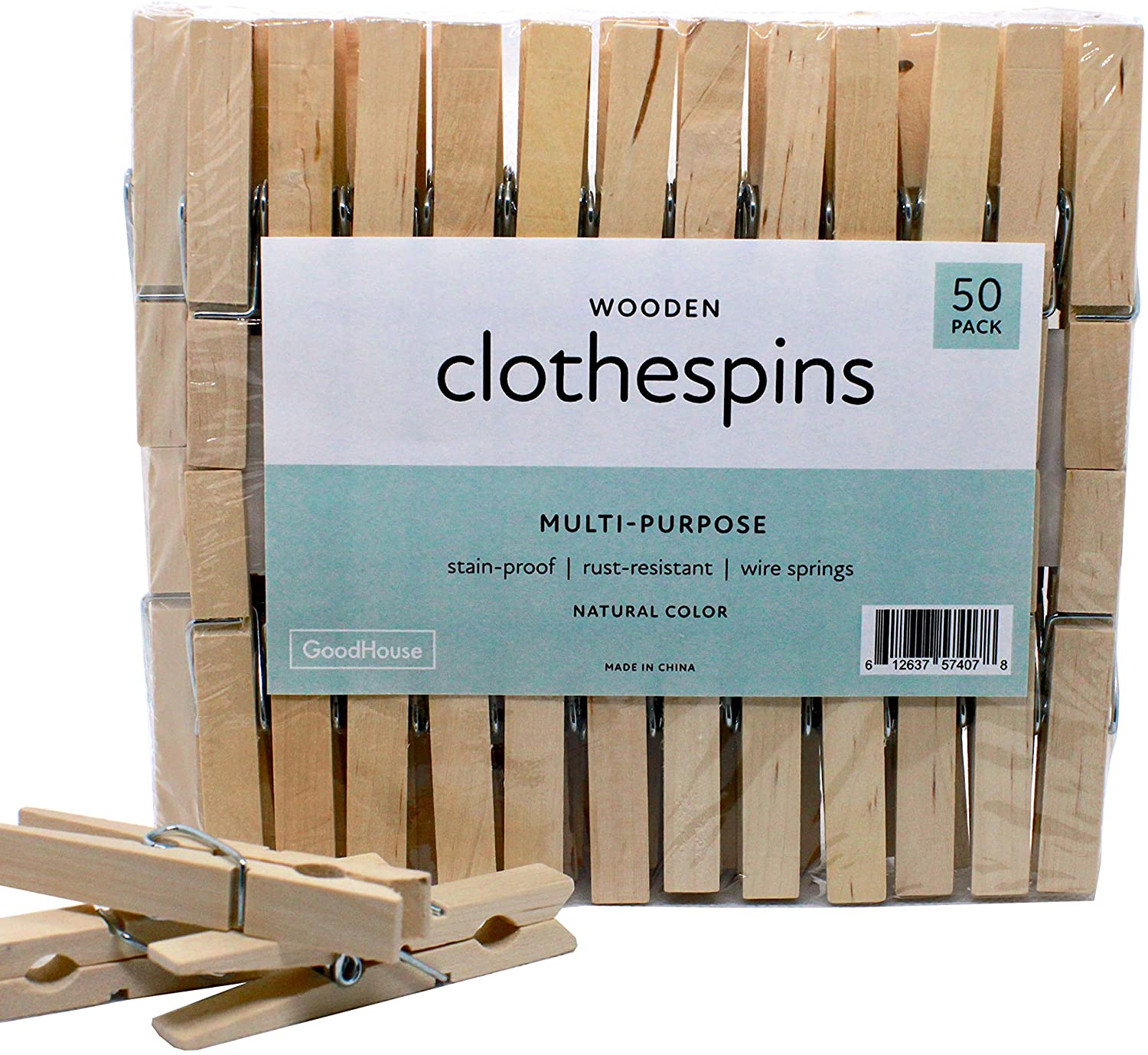 Goodhouse Wooden Clothespins, 50 Pack, Large Multi-Purpose (3 x .5 Inches)