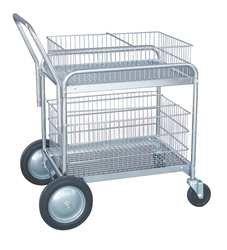 Industrial Grade 1ECJ8 Mail Cart, Chrome, 2 Shelves, 41 x 23 In