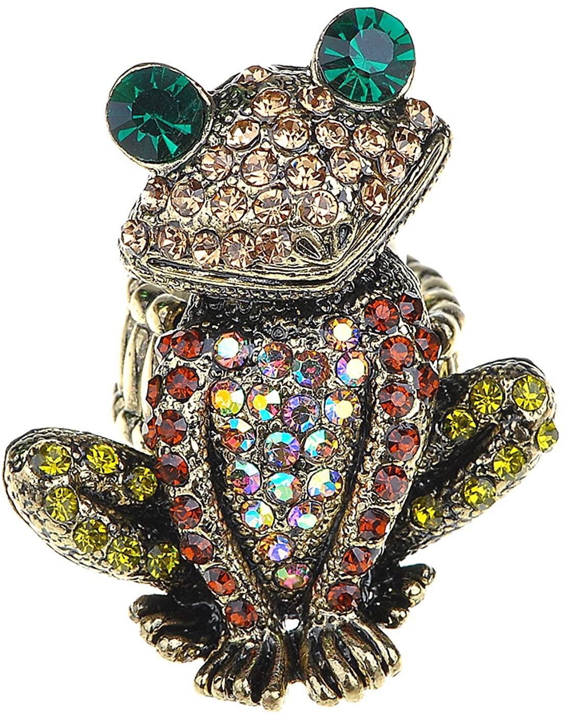 Alilang Adjustable Antique Pink Golden Tone Multicolored Rhinestones Frog Toad Ring
