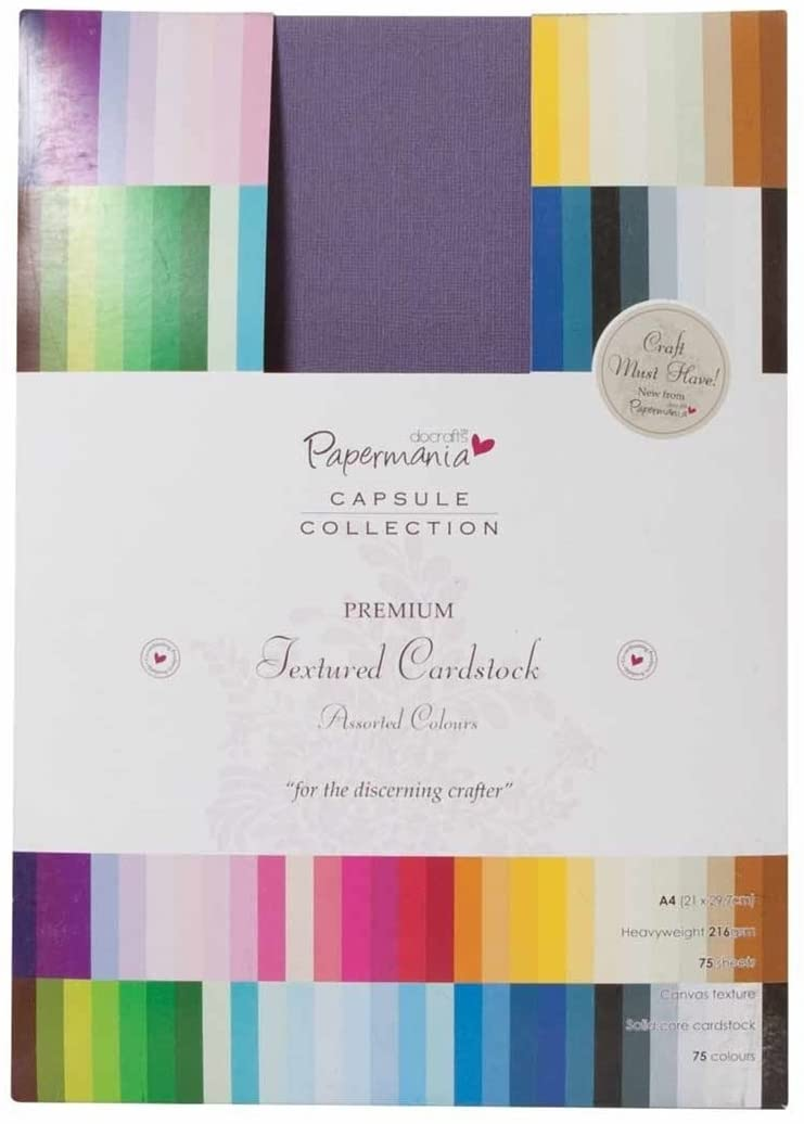 docrafts Papermania Premium Textured Solid Cardstock Pack A4, Multicolor, 75-Pack