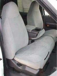 Durafit Seat Covers Made to fit 2000-2001 Ford F150 Regular and XCab High Back 40/60 Split Bench Seat Covers in Gray Twill with Molded Headrests and Console with Opening 12 in. Lid