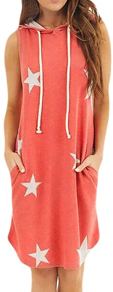 Alangbudu Women Short Sleeve Independence Day Stripe Star Print Summer Sleeveless Hoodie Dress Ladies Beach Tops Blouse