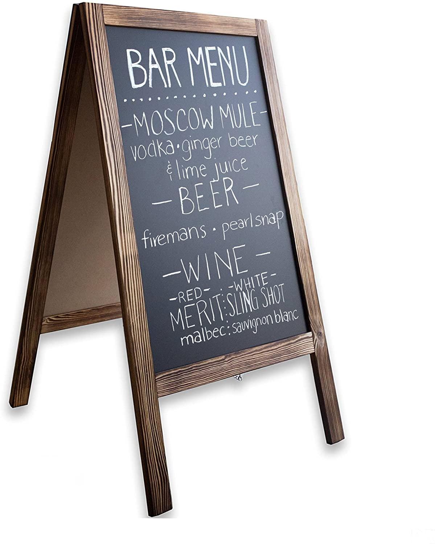 Wooden A-Frame Sign with Eraser & Chalk - 40 x 20 Inches Magnetic Sidewalk Chalkboard – Sturdy Freestanding Sandwich Board Menu Display for Restaurant, Business or Wedding