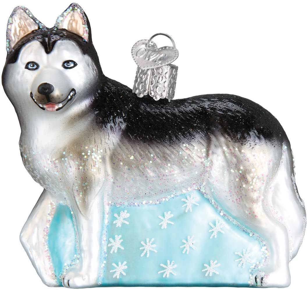 Old World Christmas Dog Collection Glass Blown Ornaments for Christmas Tree Siberian Husky
