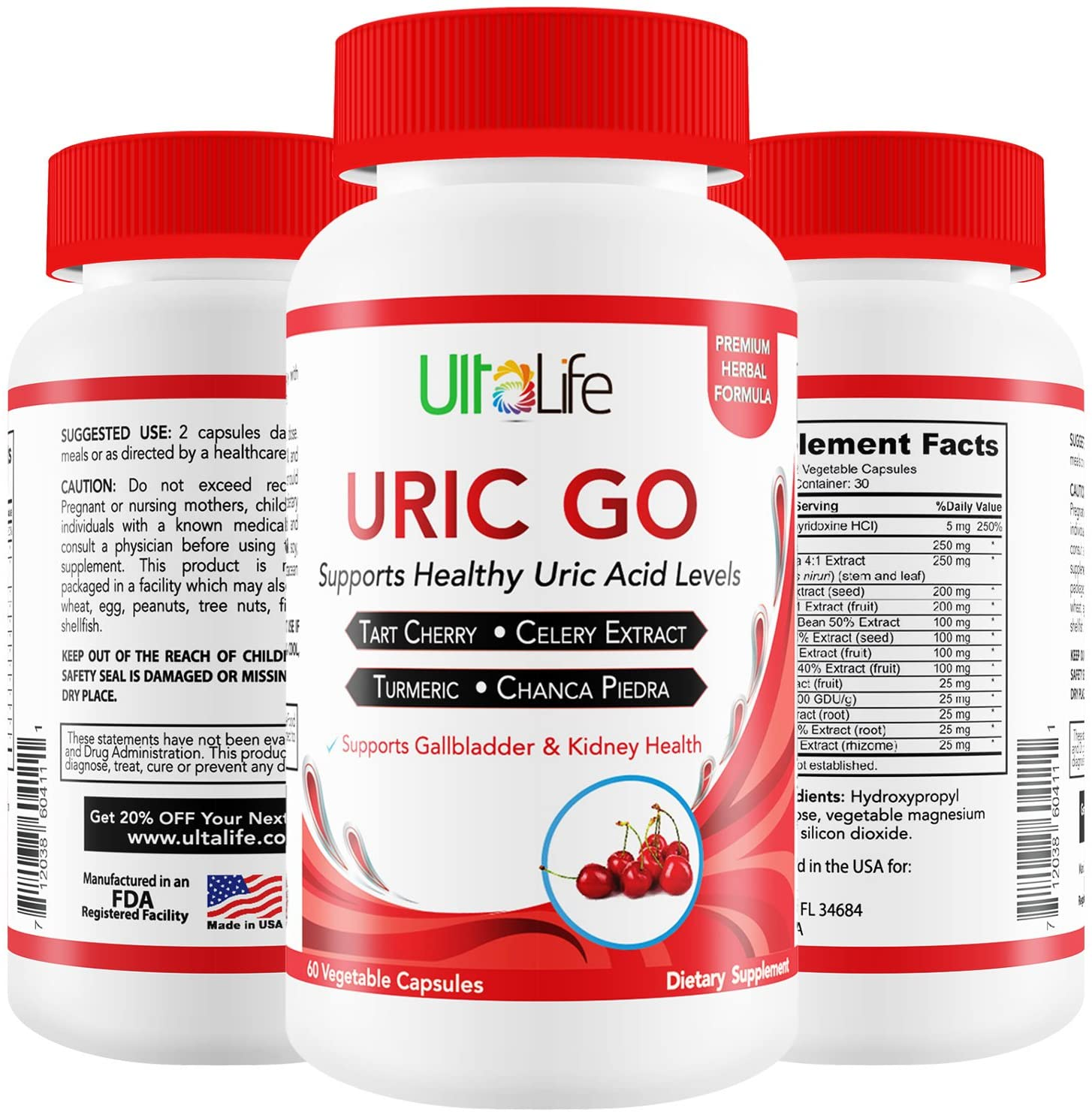 #1 URIC Acid Cleanse & Support - Tart Cherry, Chanca Piedra, Celery Seed, Cranberry- Herbal Cleanse Detox Supports Uric Acid Related Pain Relief, Flare-Ups & Inflammation