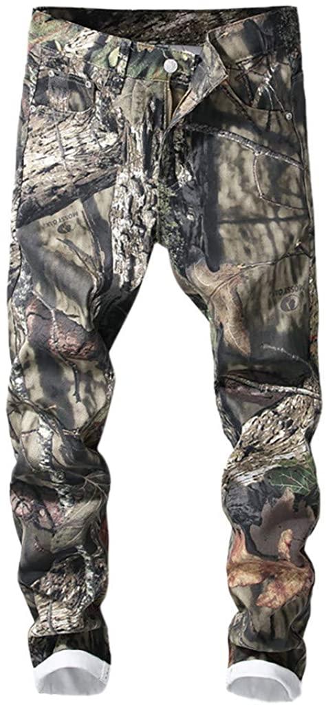 ZhixiaYS Denim Pants for Men, Men's Casual Print Jeans Trend Pocket Jeans Bike Jeans