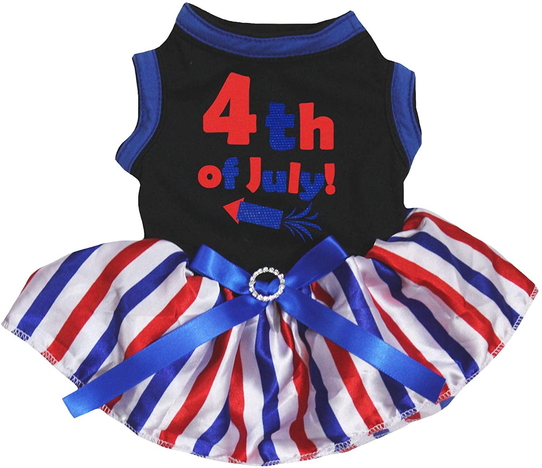 Petitebella 4th of July Rocket Cotton Shirt Tutu Puppy Dog Dress