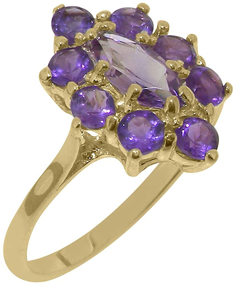 Real Solid 9k Yellow Gold Natural Amethyst Womens Engagement Ring - Size 6.25
