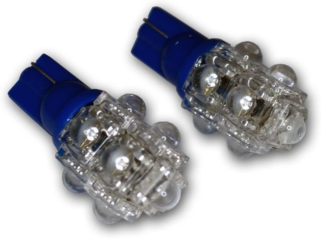 TuningPros LEDBL-T10-B9 Backup Reverse LED Light Bulbs T10 Wedge, 9 Flux LED Blue 2-pc Set
