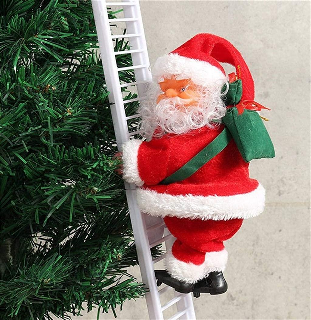 Electric Santa Claus Climbing Ladder,Christmas Decoration Santa Claus Climbing Hanging Xmas Ornament Toys