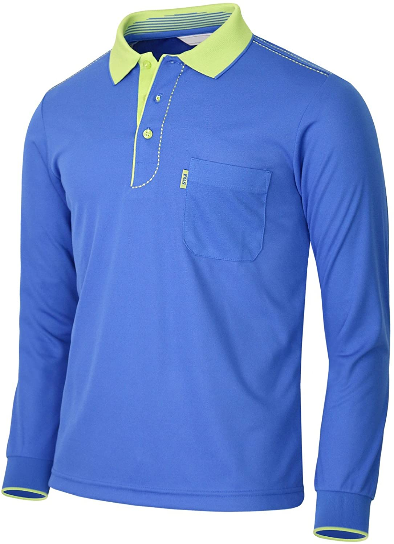 BCPOLO Men's Athletic Polo Dri Fit Long Sleeve Polo Shirt-Blue L