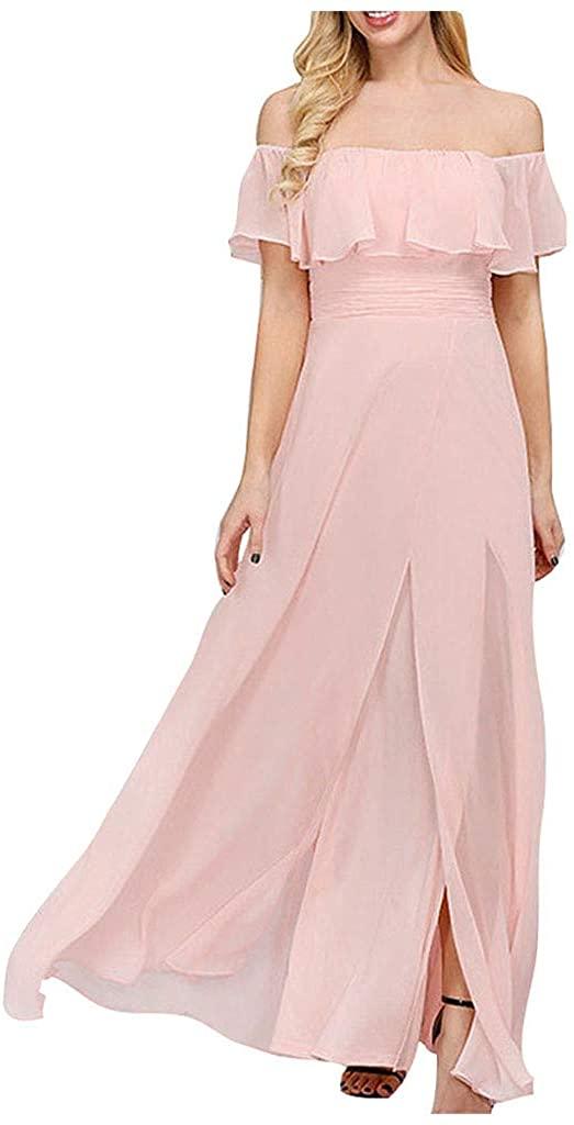 Padaleks Womens Elegant Chiffon Mini Dress Off Shoulder Sleeveless Ruffle Split Bridesmaid Party Evening Dresses