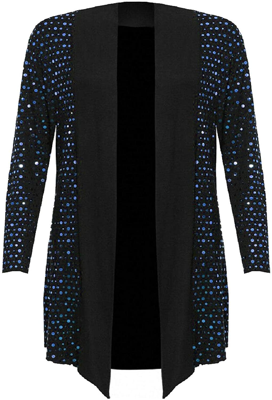 Spinbit Womens Polka Dot Sequin Waterfall Open Drape Cardigan Ladies Plus Size Xmas Top US 10-24