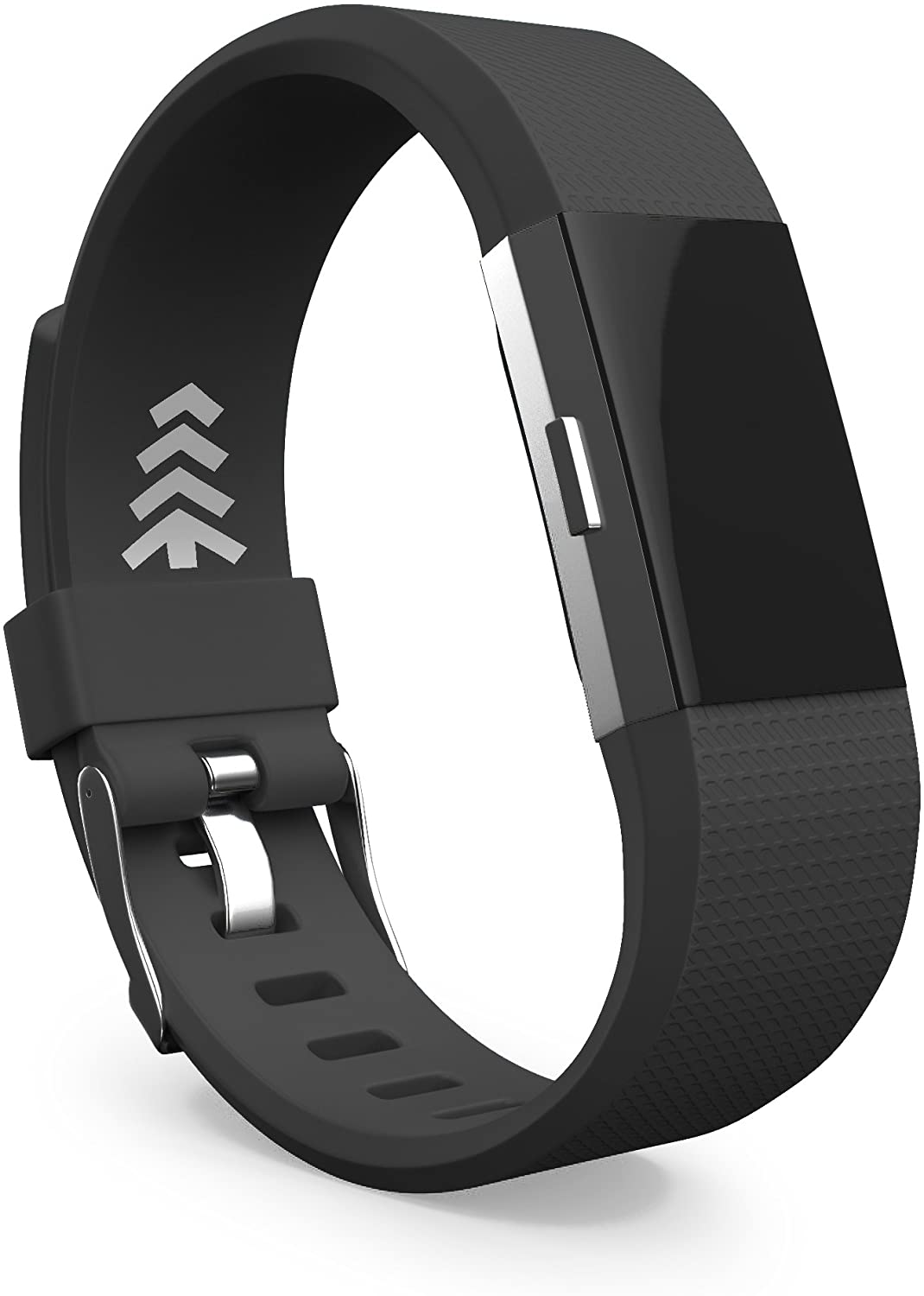 Teak - Silicone Sport Replacement Wristband for Fitbit Charge 2 - Large Black