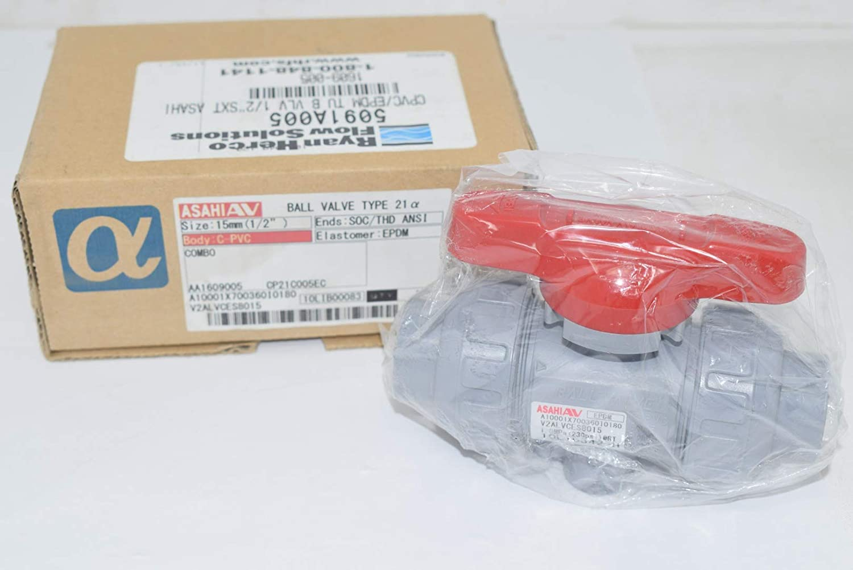 New Asahi 15mm C-PVC Ball Valve SOC/THD EPDM V2ALVCES8015