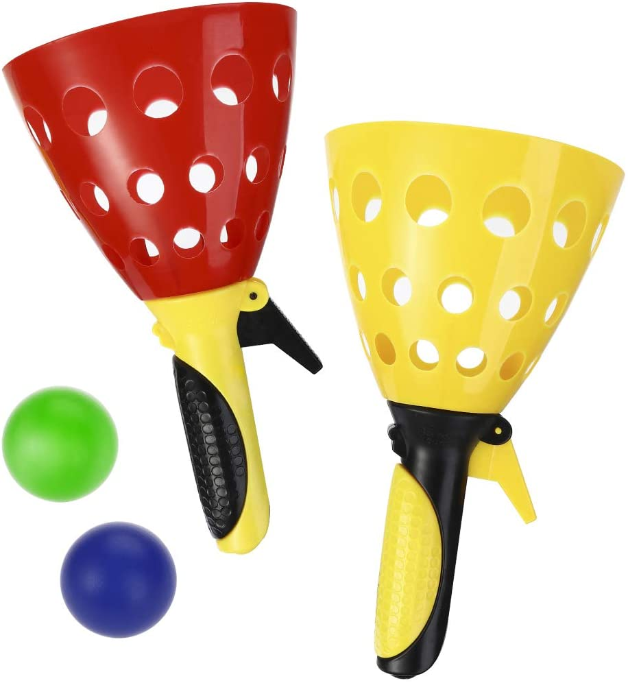 LIOOBO Pop and Catch Game, Outdoor Toy Outdoors Sports Games Toss and Catch Game for Kids and Adults 4 Balls (Random Color)
