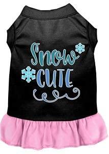 Mirage Pet Product Snow Cute Screen Print Dog Dress Black with Light Pink XS