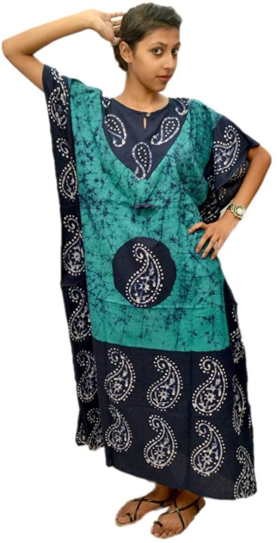 Odishabazaar Womens Cotton Caftan Nighty Blue Black Batik Kaftan Maxi Dress