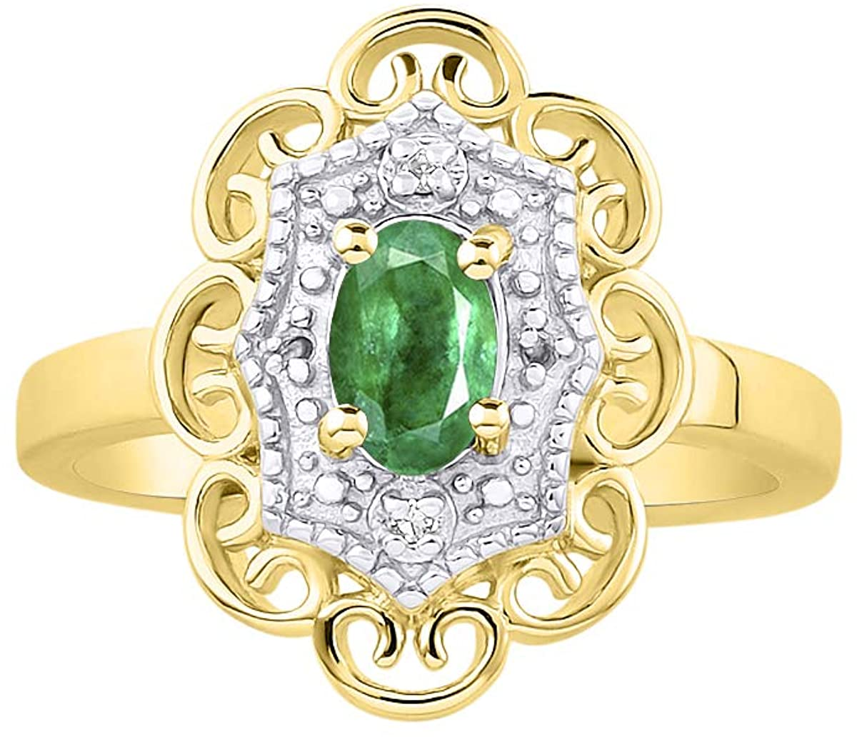 RYLOS Floral Pattern Ring with Oval Shape Gemstone & Genuine Sparkling Diamonds in 14K Yellow Gold Plated Silver .925-6X4MM Color Stone Birthstone Rings